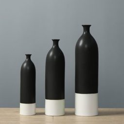 porcelain white and black vases