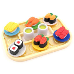 6 piece set of eco-friendly erasers