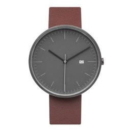 grey dial and brown leather wristband