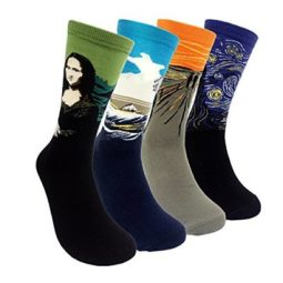mona lisa, the scream, hokusai, starry night socks